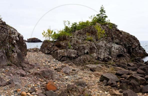 Coastal trail on Lake Superior north shore