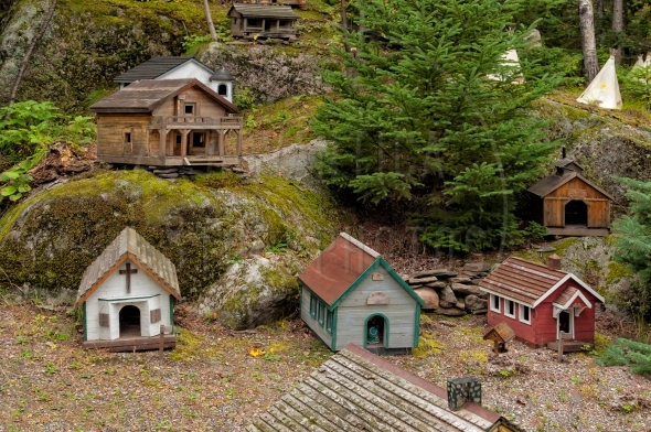 Miniature houses on the forest floor