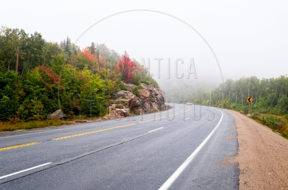 Driving in rain on Trans-Canada Highway