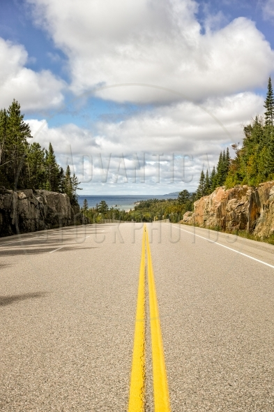 Trans-Canada Highway on Lake Superior shore