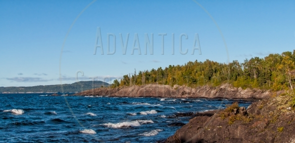 Rugged coastline at the Lake Superior, Ontario