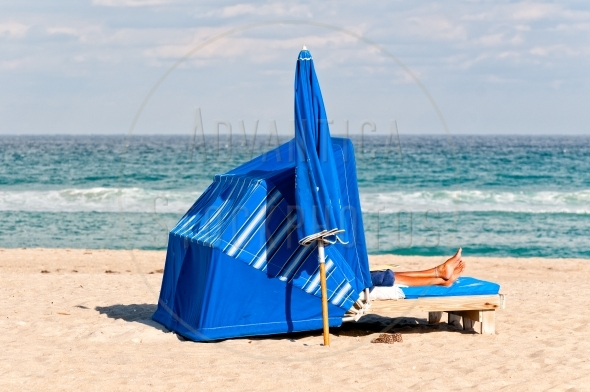 Wind shelter on a sandy beach
