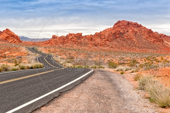 Long winding road in Valley Of Fire