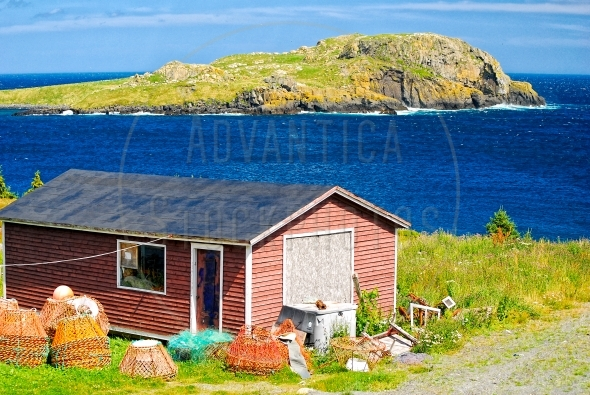 Fishing shack with view of an island