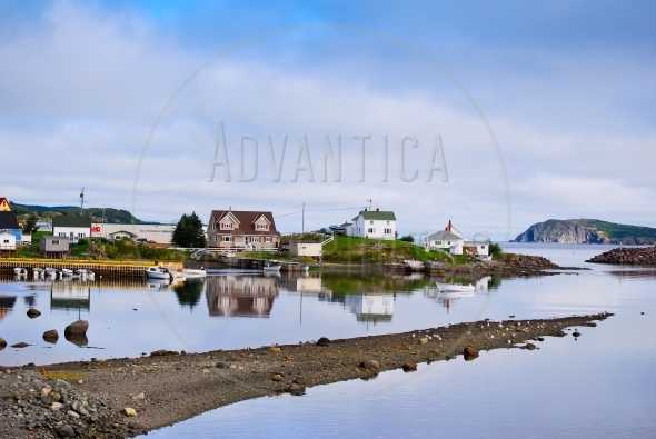 Houses and a boat in Twillingate, Newfoundland