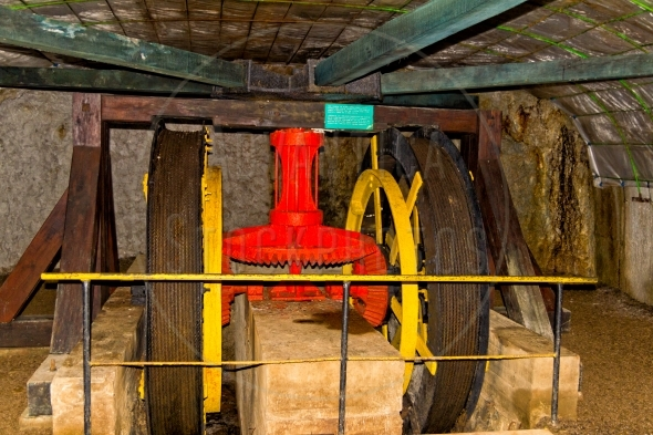 Vintage pulling machine in an old mine