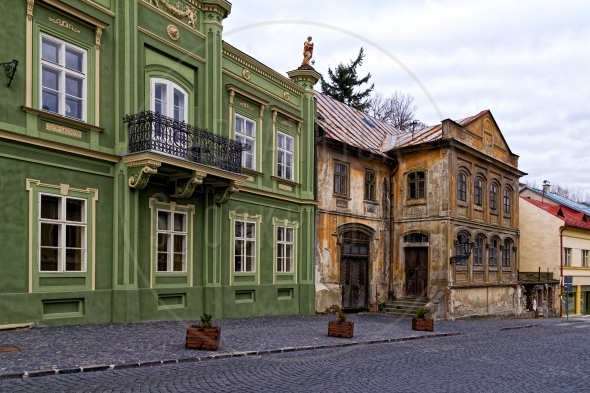 Old buildings on a cobblestone street