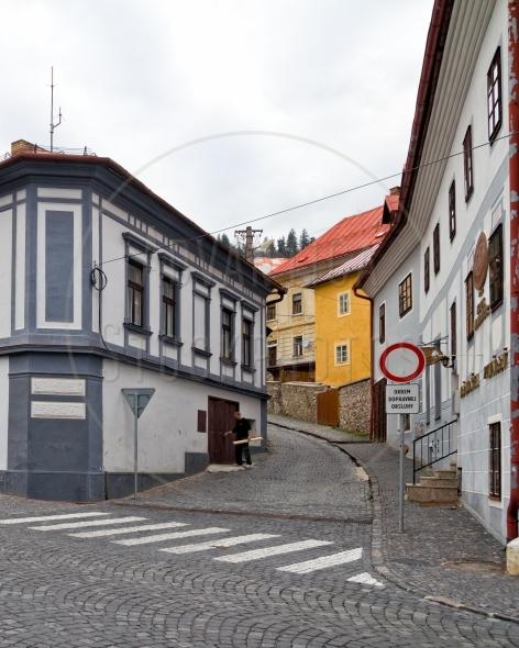 Cobblestone street in Banska Stiavnica, Slovakia