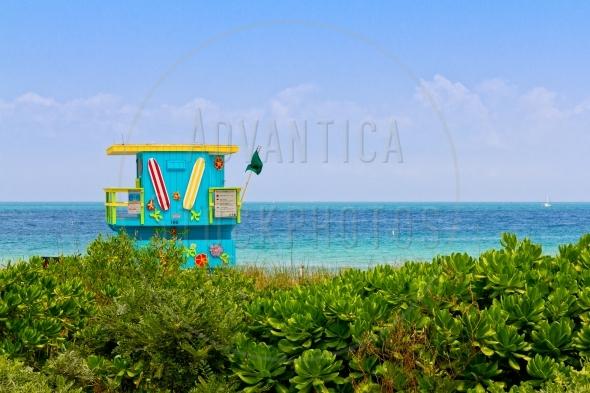 Lifeguard station in Miami Beach, Florida