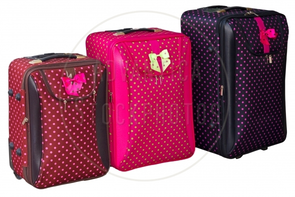 Three Colorful Suitcases, isolated on white