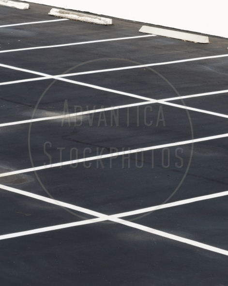 Parking lot with empty spaces