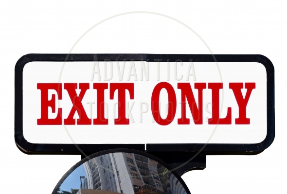 Exit Sign above a large mirror – isolated
