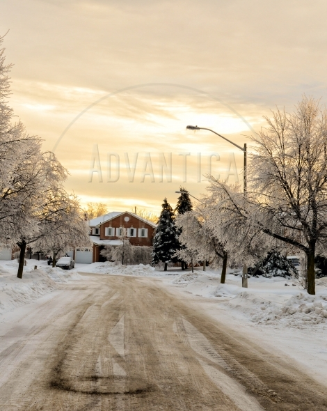 Suburban street in winter after an ice storm