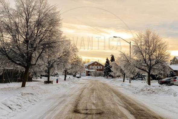 Suburban street after an ice storm