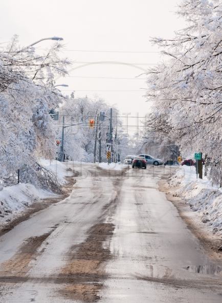 Suburban street after a winter ice storm