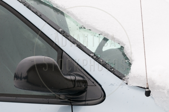 Layer of ice on the front windshield