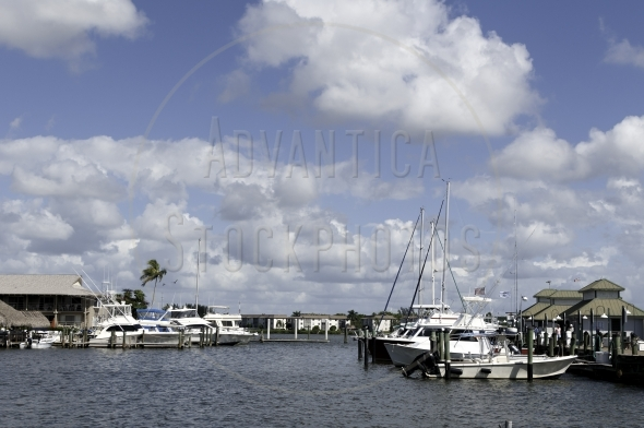 Old city dock with boats in Naples, Florida