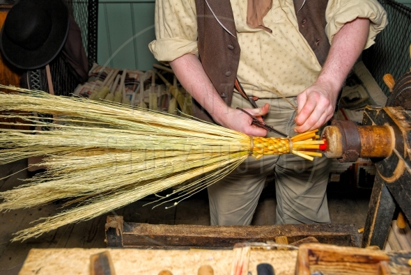 Old-fashioned broom making