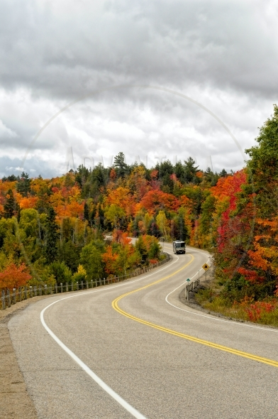 Driving through Algonquin Park In Fall