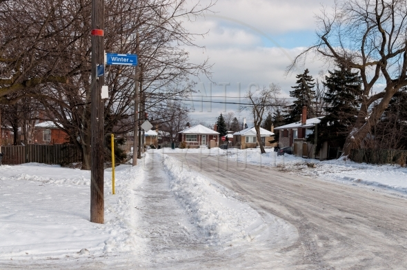Residential street with a Winter Avenue sign