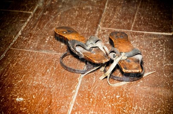 Vintage wooden sandals