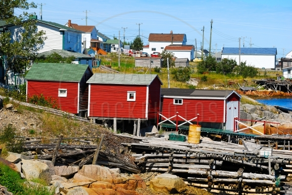 Three red sheds / fishing stages