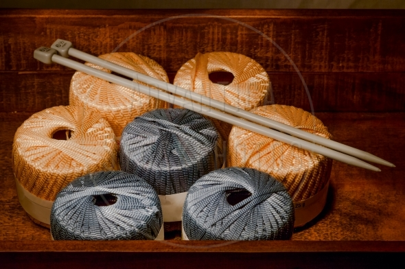 Knitting yarn in a wooden box
