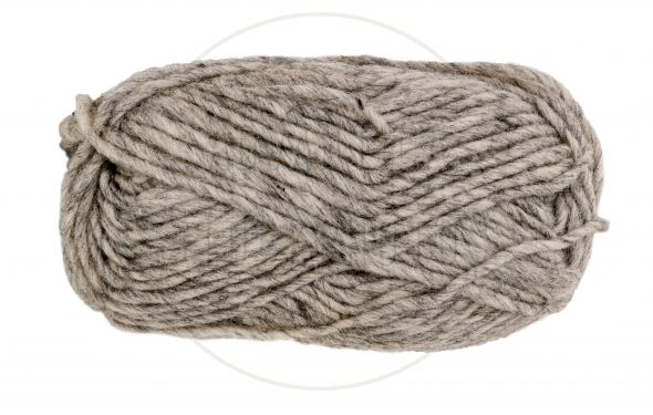 Gray knitting yarn isolated on white background