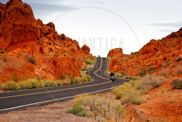 Driving on a winding road in Valley Of Fire