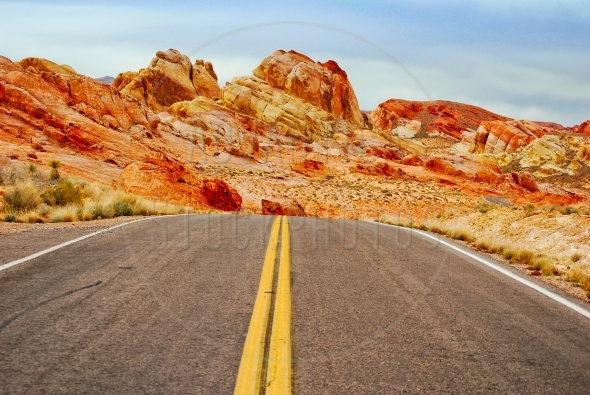 Road through a desert in Valley Of Fire