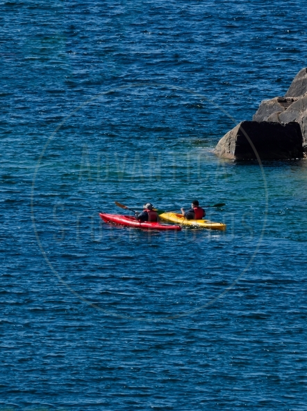 Two kayaks on Lake Superior