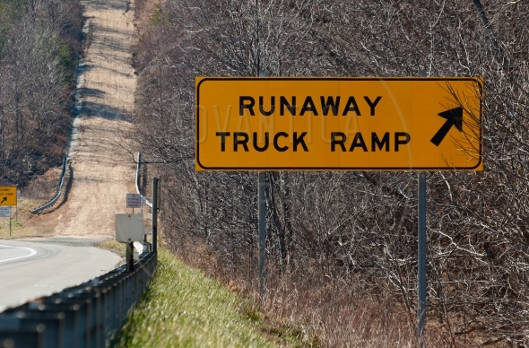 Runaway truck ramp and a sign